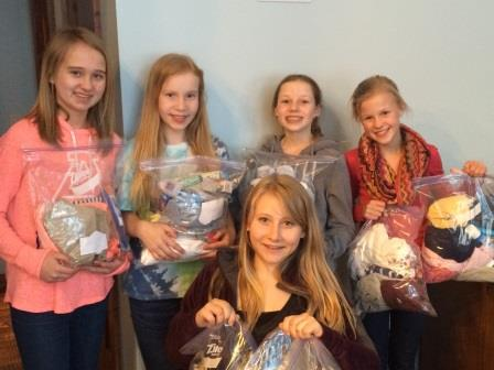 Isabel and her friends at her 12th Birthday party with some of the Welcome Kits they created